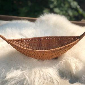 Vintage boho wicker banana/canoe shaped basket